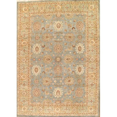 Original Hand-Knotted Wool Light Blue/Beige Area Rug