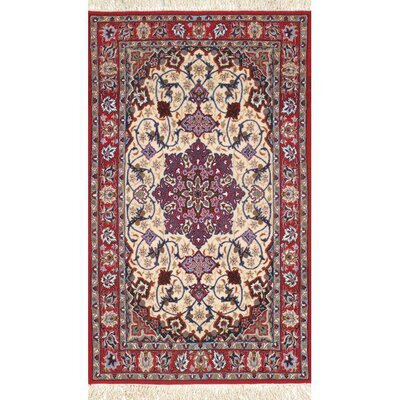 Persian Classic Isfahan Hand-Knotted Wool Ivory/Red Area Rug