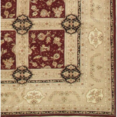 Sino Tabriz Hand-Knotted Wool/Silk Red/Ivory Area Rug
