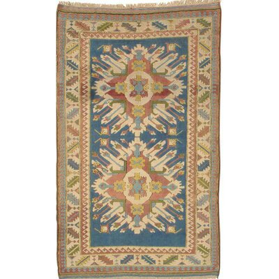 Kazak Hand-Knotted Wool Light Blue/Beige Area Rug