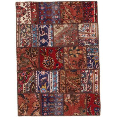 Persian Patch-Work Hand-Knotted Wool Brown/Navy Area Rug
