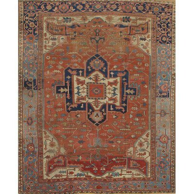 Persian Serapi Antique Hand-Knotted Wool Rust/Light Blue Area Rug