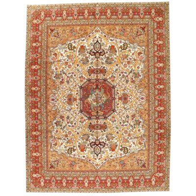 Persian Fine Tabriz Hand-Knotted Wool Beige/Rust Area Rug