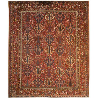 Persian Antique Bakhtiari Hand-Knotted Wool Rust/Navy Area Rug