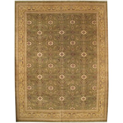 Indo Hand-Knotted Wool Light Green/Gold Area Rug