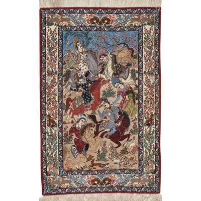 Persian Isfahan Hand-Knotted Wool Ivory/Blue Area Rug