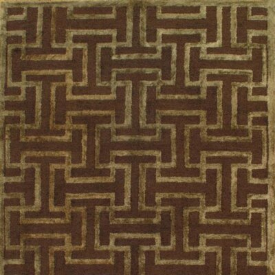 Modern Hand-Knotted Wool Brown Area Rug