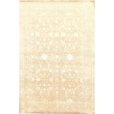 Fine Indo Tabriz Hand-Knotted Wool Beige Area Rug
