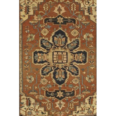 Persian Serapi Rug Hand-Knotted Wool Brown Area Rug