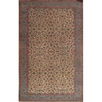 Hand-Knotted Silk/Wool Area Ivory Rug
