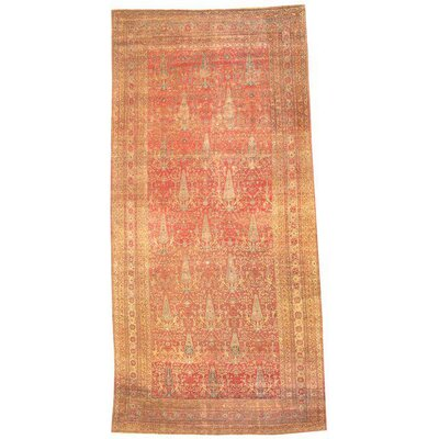 Persian Dorokhsh Mashhad Hand-Knotted Wool Light Orange/Peach Area Rug