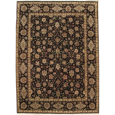 Persian Kashan Hand-Knotted Wool Black/Brown Area Rug