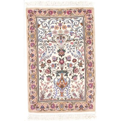 Hand-Knotted Wool Ivory/Light Brown Area Rug