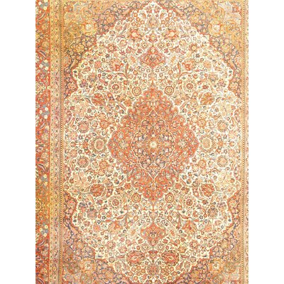 Kashan Hand-Knotted Wool Rust/Ivory Rug