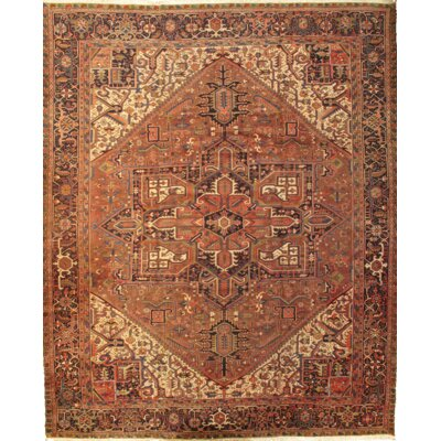 Persian Heriz Hand-Knotted Wool Rust/Navy Rug