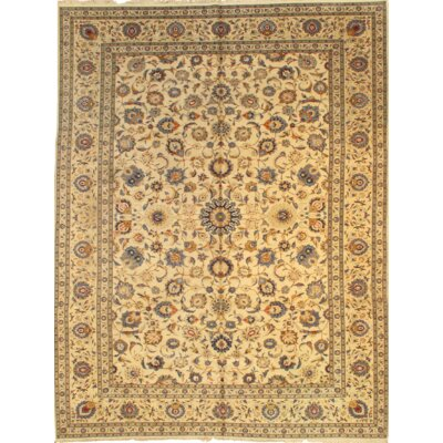 Kashan Hand-Knotted Wool Ivory Rug