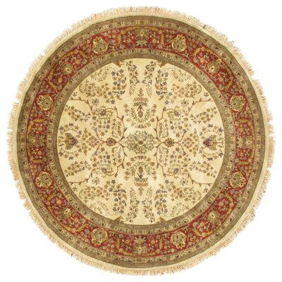 Sarouk Hand-Knotted Wool Ivory/Rust Area Rug
