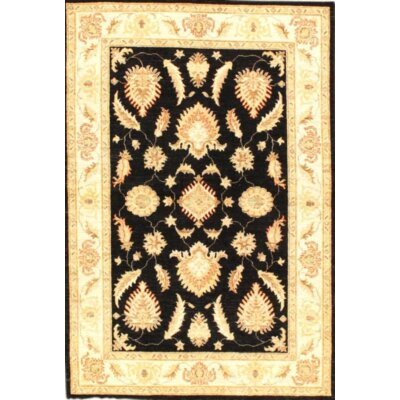 Farahan Hand-Knotted Wool Black/Ivory Area Rug
