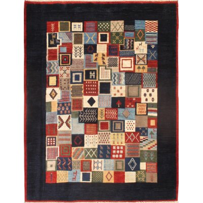 Gabbeh Hand-Knotted Wool Red/Navy Area Rug