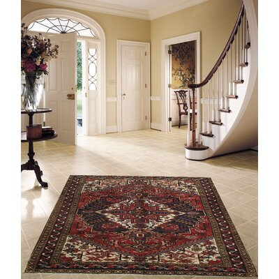 Persian Heriz Hand-Knotted Wool Rust/Navy Area Rug