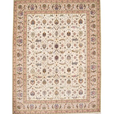 Persian Tabriz Hand-Knotted Wool Ivory/Lavender Area Rug