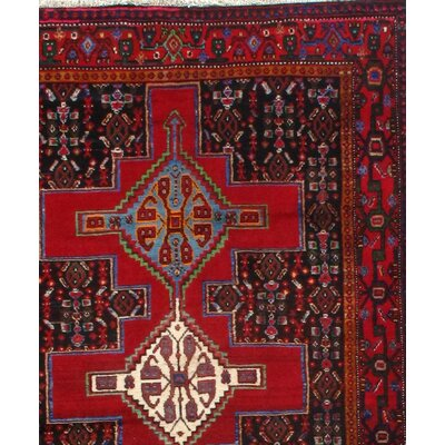 Kurdish Senneh Hand-Knotted Wool Red Area Rug