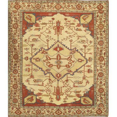 Persian Serapi Hand Knotted Wool Ivory Area Rug