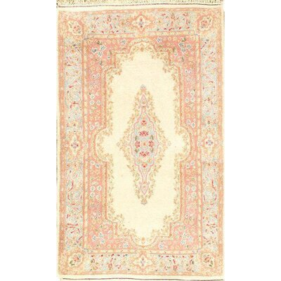 Persian Kerman Hand-Knotted Wool Pink Area Rug