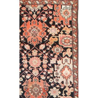Hand Knotted Wool Black/Peach Area Rug
