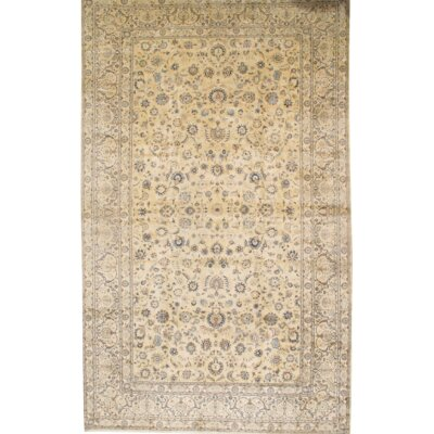 Kashan Persian Hand-Knotted Wool Ivory Area Rug