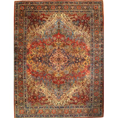 Persian Yazd Hand-Knotted Wool Rust Area Rug