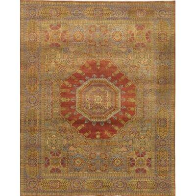 Turkish Mamluk Hand-Knotted Wool RustBlue Area Rug
