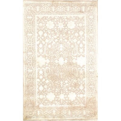 Tabriz Modern Hand-Knotted Wool Beige Area Rug