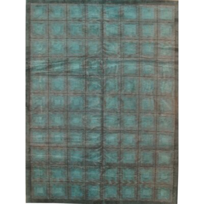 Modern Hand-Knotted Wool Light Blue Area Rug