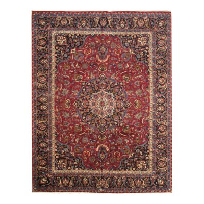 Mashad Hand-Knotted Wool Red Area Rug