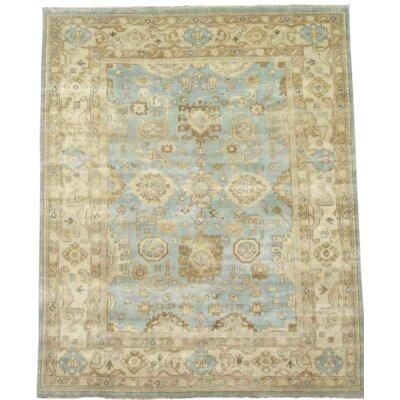 Oushak Turkish Hand-Knotted Wool Ivory Area Rug