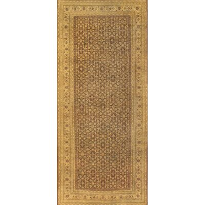 Agra Hand-Knotted Wool Brown Area Rug