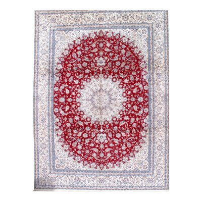 Persian Nain Hand-Knotted Wool Ivory/Red Area Rug
