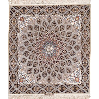 Persian Isfahan Davari Hand-Knotted Wool Gray Area Rug
