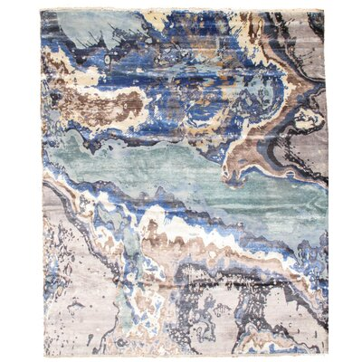 Modern Hand Knotted Silk Blue/Gray Area Rug