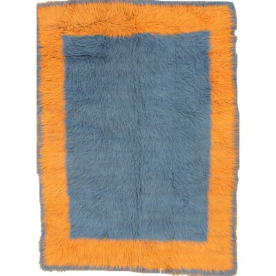 Tulu Turkish Hand Knotted Wool Blue/Orange Area Rug