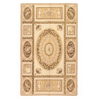 Modern Aubusson Hand Knotted Wool Cream Area Rug