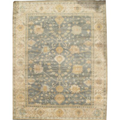 Original Turkish Oushak Hand-Knotted Wool Green/Ivory Area Rug