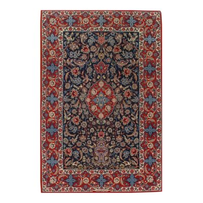 Fine Persian Isfahan Seirafian Hand-Knotted Wool Navy/Red Area Rug