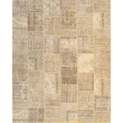 Patchwork Hand-Knotted Wool Beige Area Rug