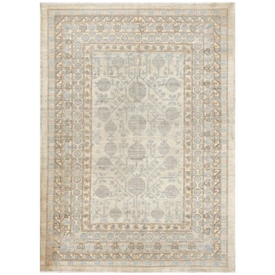 Hand-Knotted Wool Rug Gray/Blue Area Rug