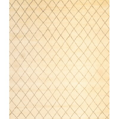Hand-Knotted Wool Cream Area Rug
