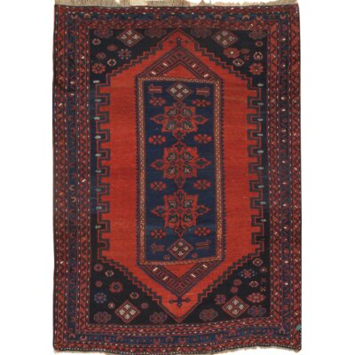 Hand-Knotted Red/Blue Wool Area Rug
