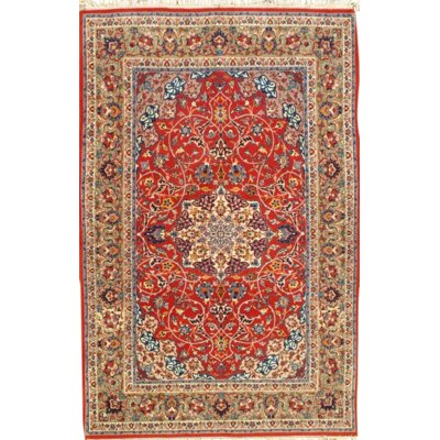 Hand-Knotted Wool/Silk Red/Light Green Area Rug