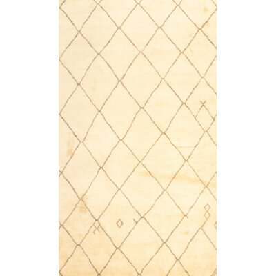 Moroccan Hand Knotted Wool Cream/Gray Area Rug
